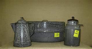79: Graniteware. gray enamel. roaster, milk pail,
