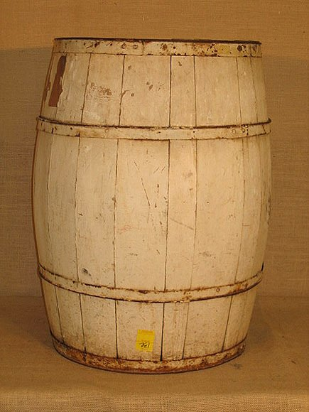 132: Wooden barrel. General store. Old white paint.