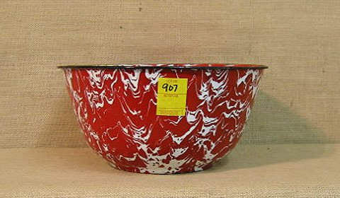 907: Graniteware. Red & white marbled mixing bowl.