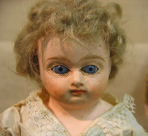 916: Pair of French composition dolls. Glass eyes. - 10