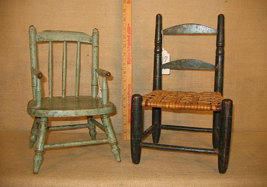 917: 19th century doll chairs. Polychrome paint.