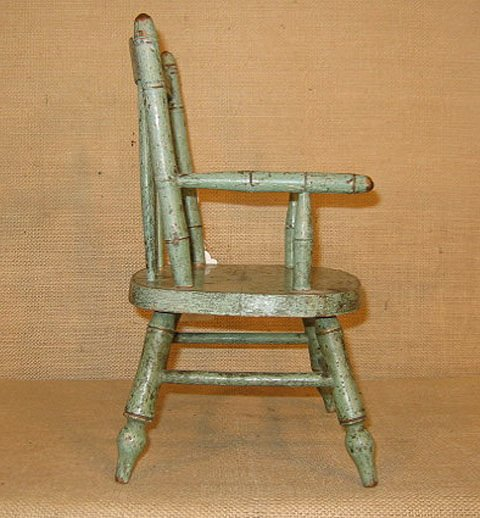917: 19th century doll chairs. Polychrome paint. - 9