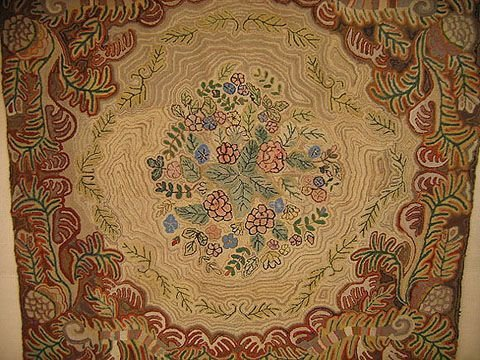 1074A: LARGE FLORAL HOOKED RUG.  A BEAUTY.