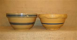 1126: Yellow ware bowls. both blue banded.