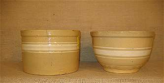 1128 Yellow ware stoneware  two banded bowls