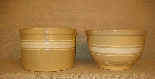 1128: Yellow ware. stoneware.  two banded bowls