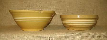 1190 Yellow ware stoneware 2 yellow ware mixing bowl