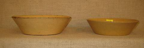 1218 Yellow ware stoneware consists of two low bowls