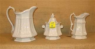 1335: White English Ironstone. two pitchers, one sugar