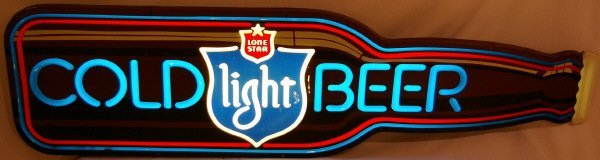 3014: Vintage Lone Star  Bottle Beer Sign Advertising