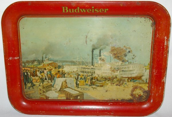 3022: Vintage Budweiser Beer Tin Litho Tray Advertising