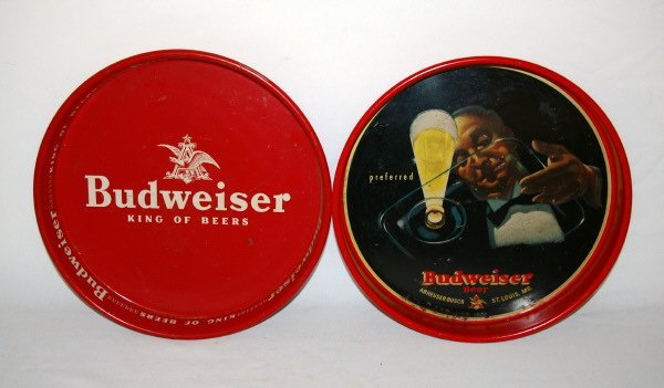 3023: Lot Of Two Budweiser Beer Serving Trays