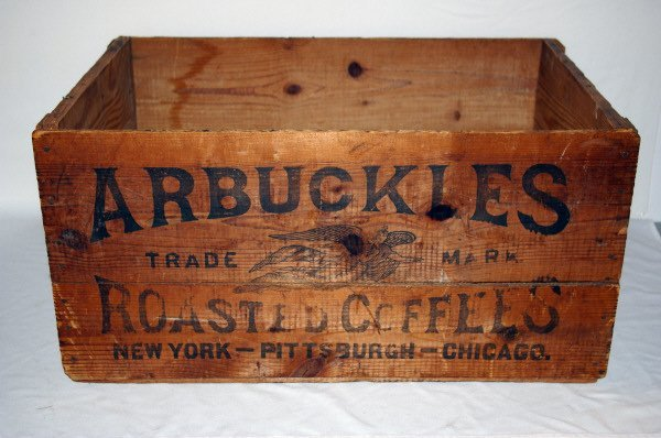 3094: Vintage Arbuckles Wooden Coffee Crate