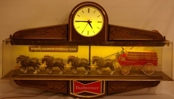 3134: Budweiser Clydesdale Beer Wagon Sign Advertising