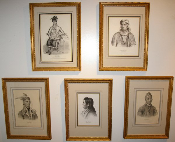 3137: Lot Of Five Framed Indian Lithographs