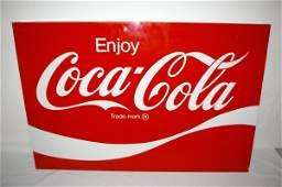 3243: Large Metal Enjoy Coca-Cola Advertising Sign