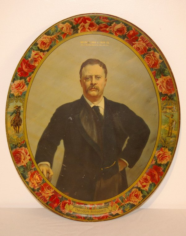 401: Teddy Roosevelt Advertising Lithograph Tray 1903
