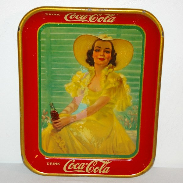 406: 1938 Coca-Cola Tray Girl in Yellow Dress
