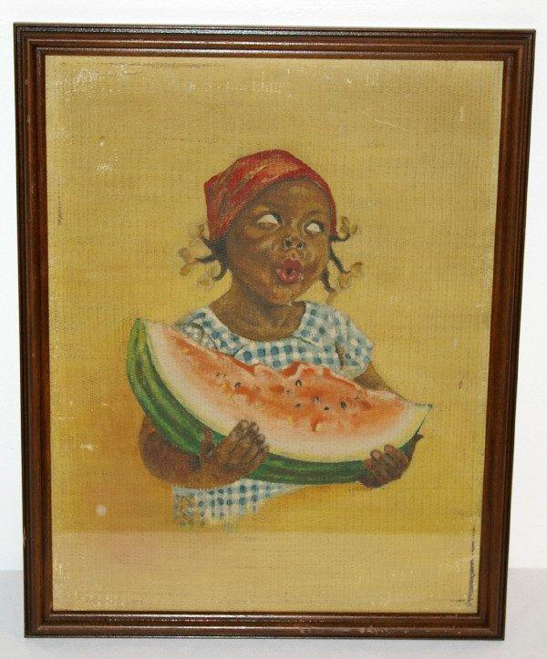 552: Black Americana Girl & Watermelon Painting
