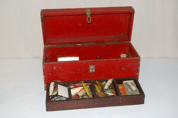12: Red Wooden Tackle Box With Fishing Lures