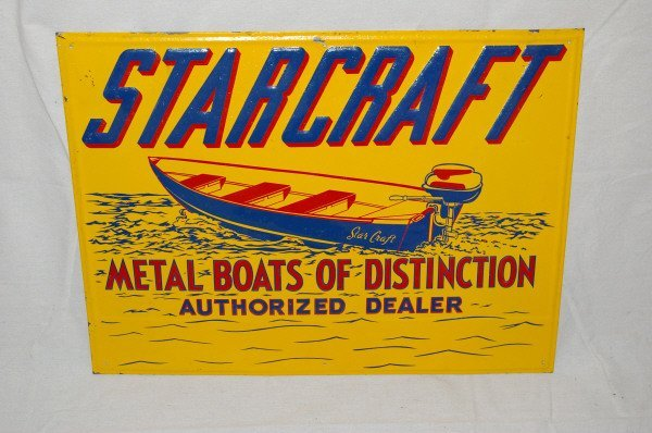 13: Starcraft Boats Tin Litho Advertising Sign