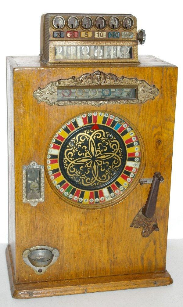 111: Antique Watling Slot Machine Oak Case Ben Hur