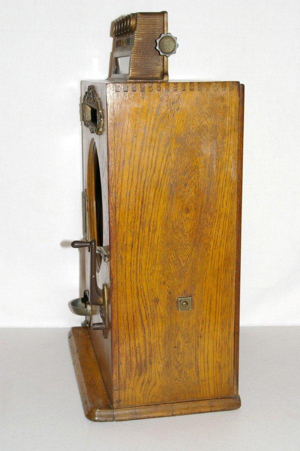 111: Antique Watling Slot Machine Oak Case Ben Hur - 6