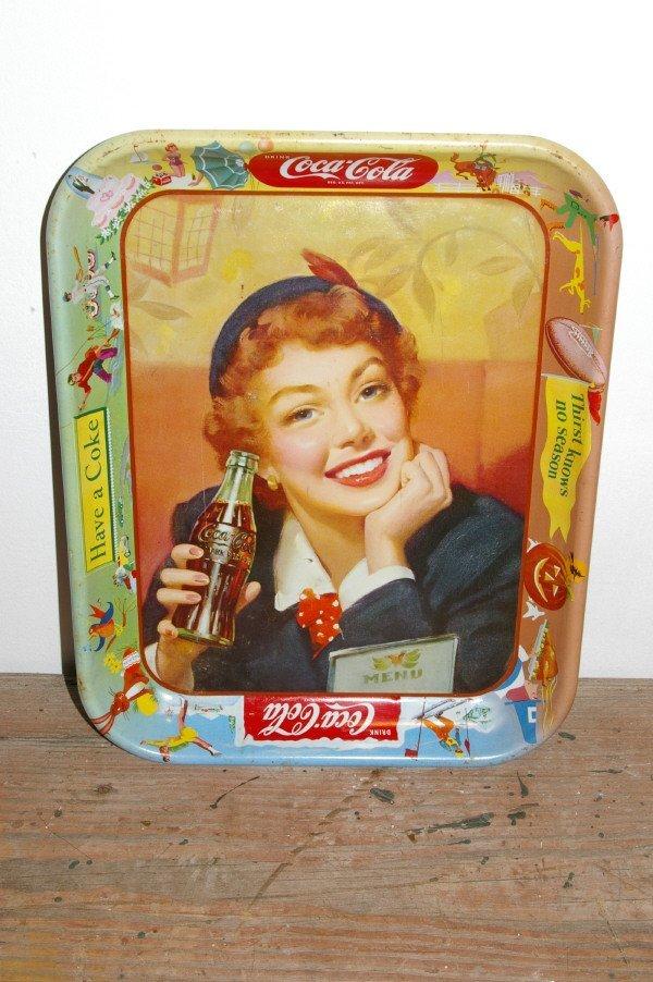 500: 1955 Coca Cola Advertising Tray Menu Girl