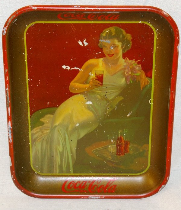 501: 1936 Coca Cola Advertising Tray Lounging Girl