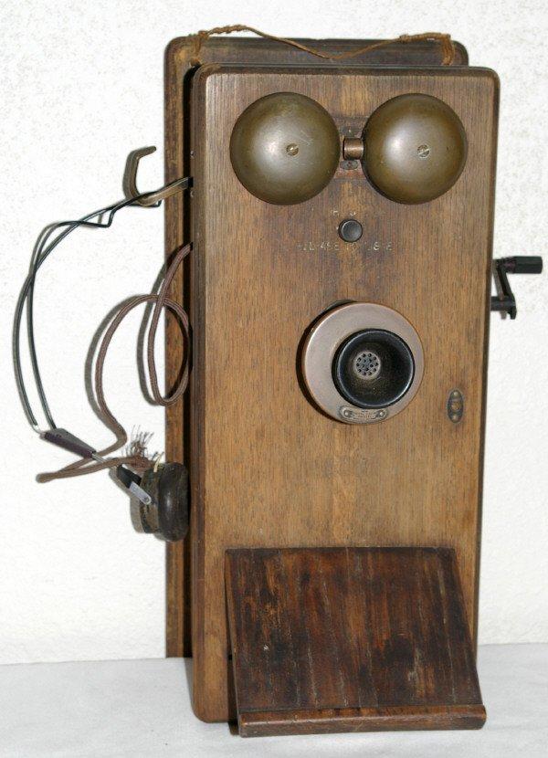 503: Wooden Crank Phone In Oak Case