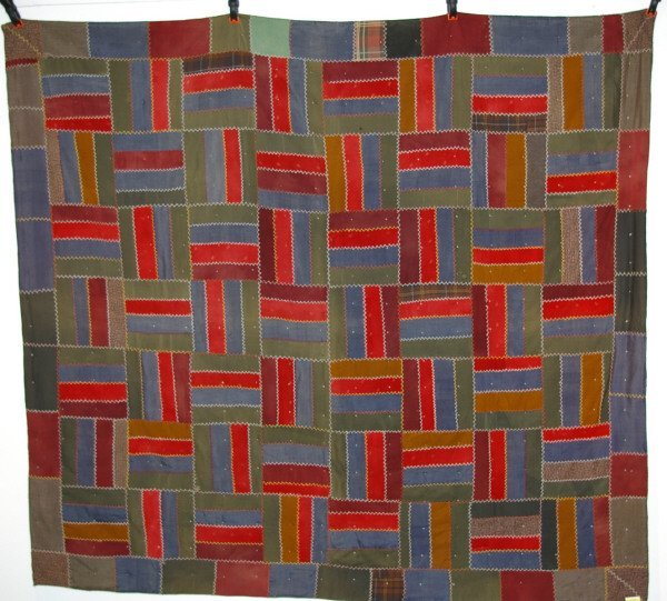 510A: Wool Cross stitch Log Cabin Quilt