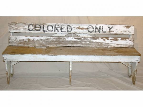 """618A: """"Colored Only"""" Wooden Waiting Area Bench"""