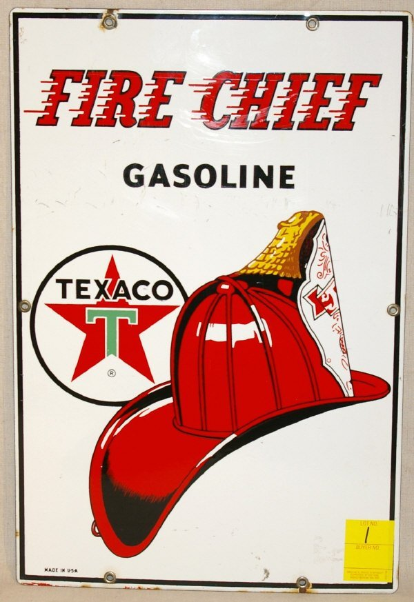 1: Texaco Fire Chief Porcelain Sign