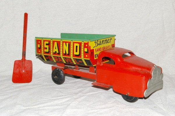 4: Banner Pressed Steel And Tin Sand Gravel Truck