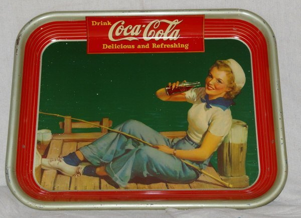 16: 1940s Coca Cola Advertising Tray Of Lady Fishing.