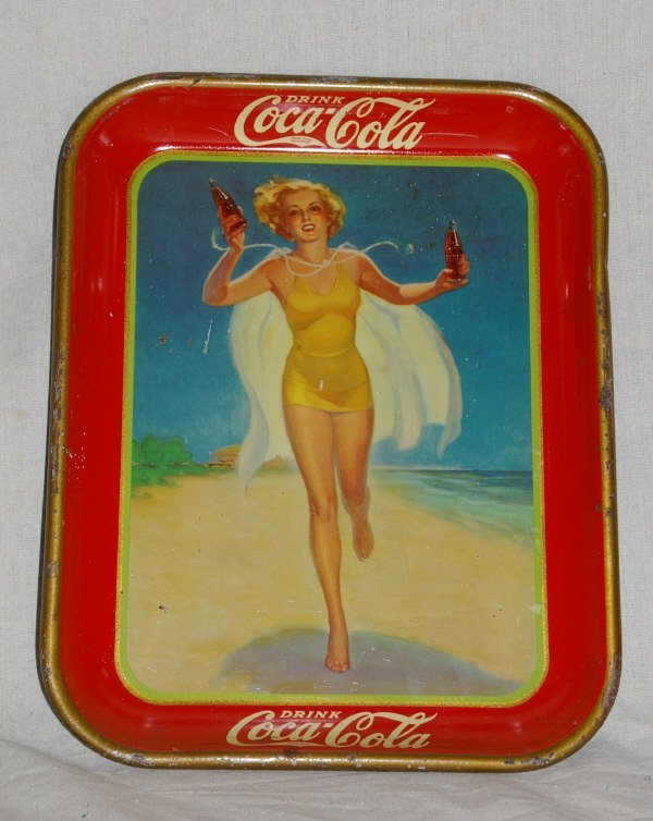 18: 1937 Coca Cola Advertising Tray Of Running Lady.