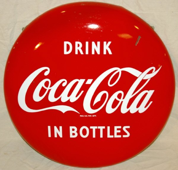 19: Coca-Cola Advertising Button Porcelain Sign