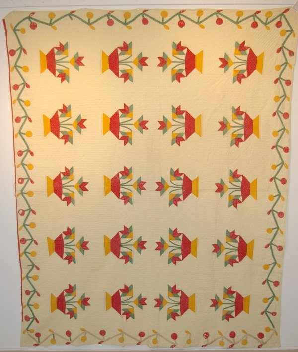 23: Antique Hand Stitched Applique Quilt
