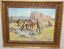 54: Fred Harman Indian Oil Painting Red Ryder Artist