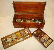 216: Antique Wooden Tackle Box With Fishing Lures