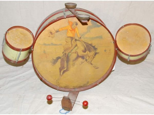 6: Child's Toy Drum Set Western Cowboy