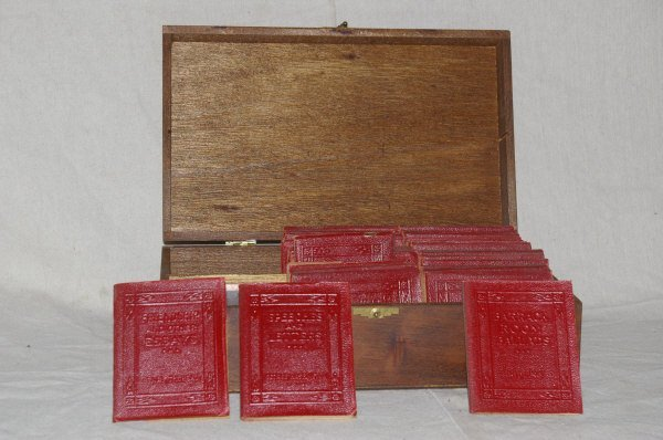 508: Primitive Oak Box With Miniature Books.
