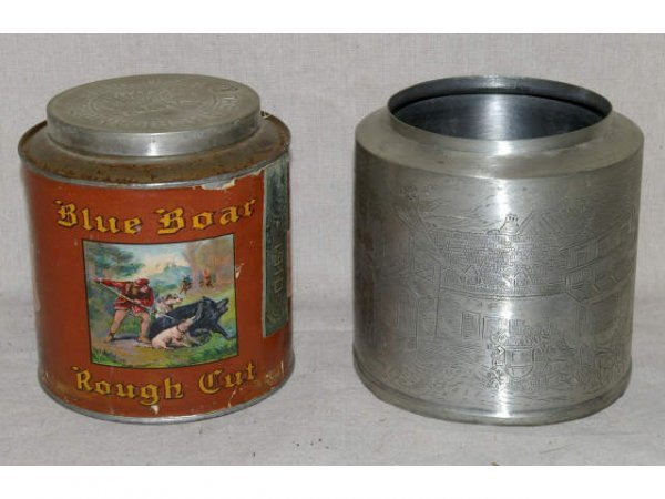 514: Blue Boar Rough Cut Tobacco Tin With Etched Cover