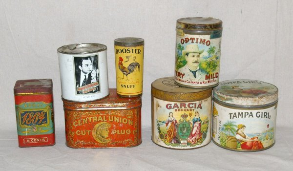 515: Lot Of 7 Vintage Country Store Tobacco Tins