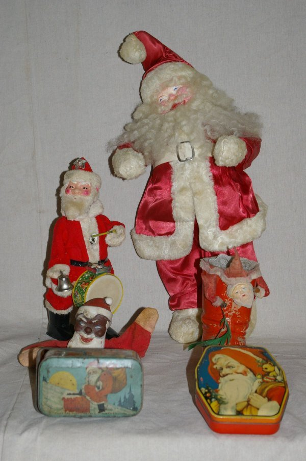633: Assorted Christmas Santa Claus Toys & Tins