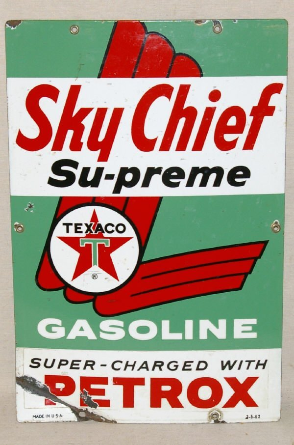 1002: Porcelain Sky Chief Texaco Advertising Sign