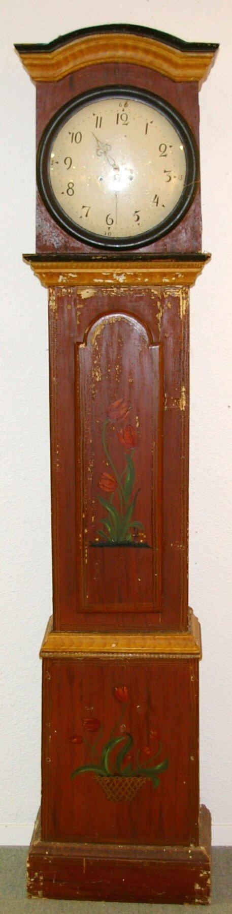 1193: Primitive Folk Art Hand Painted Grandfather Clock