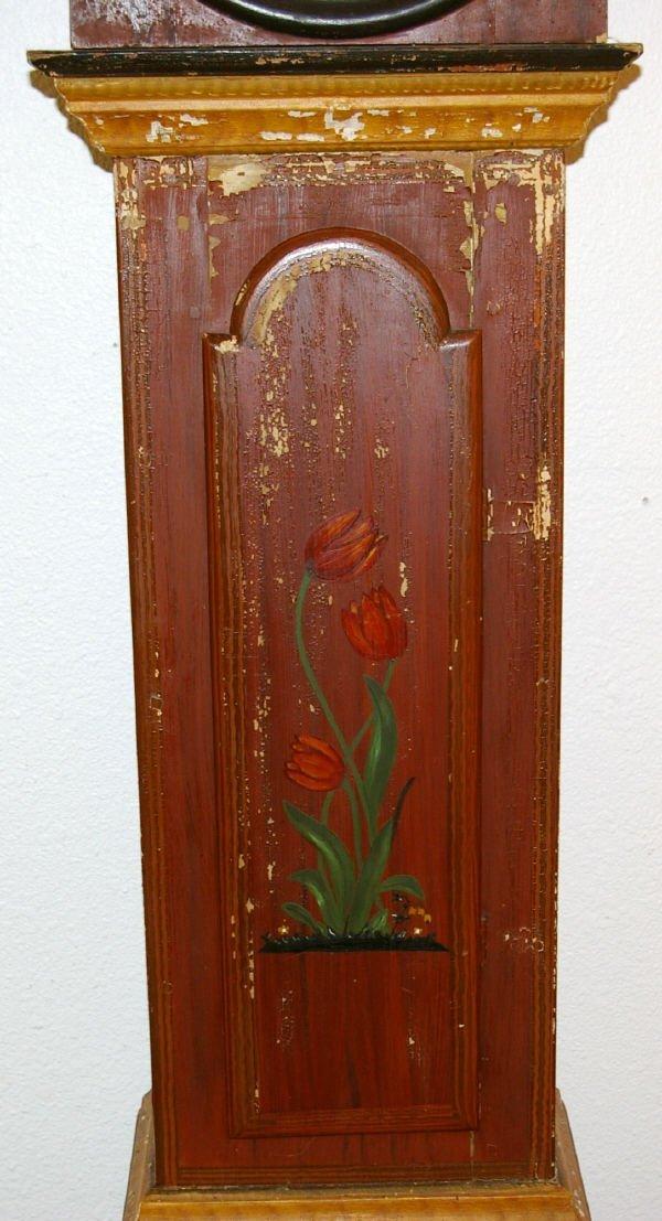 1193: Primitive Folk Art Hand Painted Grandfather Clock - 4