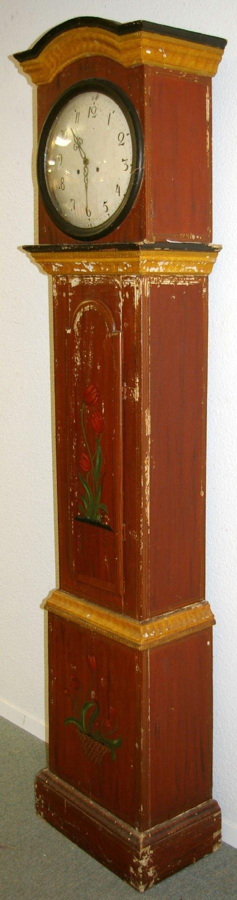 1193: Primitive Folk Art Hand Painted Grandfather Clock - 6