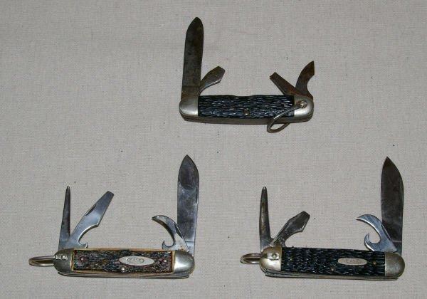 1399: 3 Case XX Scout Pocket Knives 640045R